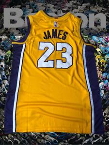 LeBron James City Edition Swingman Mens Jersey Los Angeles Lakers Size M-XL Gold