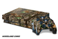 Xbox One X Console Skin with 2 Controller Decals WOODLAND camo hutting wrap tree