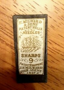 ANTIQUE H. MILWARD & SONS SHARPS SEWING NEEDLES  #9 PACKET Sailing Ship Label