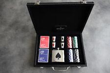 Juego set da Texas Poker 100 fiches 2 mazzi di carte e fiaschetta con bicchieri