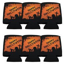 "Set of 6 Halloween ""Happy Halloween"" Themed Koozies"