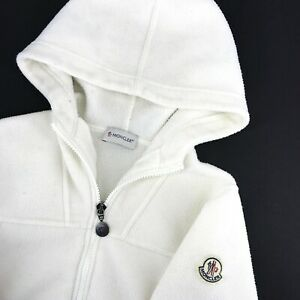 Women's MONCLER Hoodie Fleece Jumper White Jacket Pullover Size - S