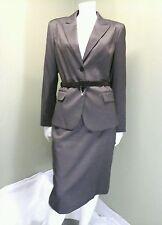 Chaus Brown Tweeded Skirt Suit Jacket Blazer W/ Belt~Size 8