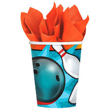 BOWLING 9oz PAPER CUPS (8) ~ Sports Birthday Party Supplies Beverage Drinking