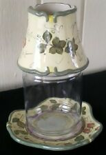 Partylite garden lites candle shade & tray hand painted retired