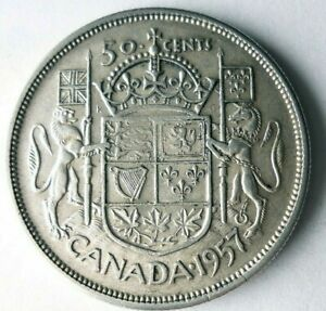 1957 CANADA 50 CENTS - AU - High Quality/Value Silver Coin - Lot #L29