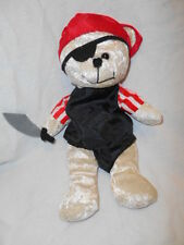 """Homemade Teddy Bear Wearing a Pirate Costume Even has a Sword and Eyepatch 12"""""""
