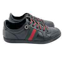 Gucci Authentic GG Red Green Web Low Top Sneakers Black Leather 8 US 9 W/ Box