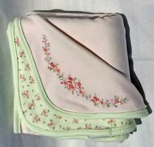 """First Impressions Baby Girl Cotton Blanket Pink Green Floral Embroidered 27""""x27"""""""