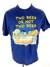 The Simpsons Fruit Loom Mens T-Shirt L Large Blue 1998 90's Homer Barney Beer OG