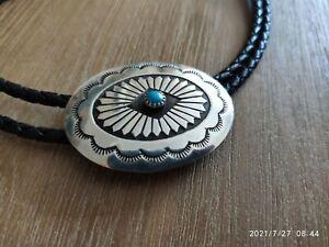 Schönes Teil: Bolo Tie mit Türkis (?) Navajo Sterlingsilber 925 Westernkrawatte