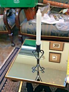 """Vtg MCM 1960s Black Cast Iron Taper Candle Holder Scroll Work Design 8"""""""