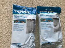 Lot of 2 2 TOPFIN 10 gallon Tank Internal Filter Cartridges, small, free ship
