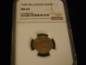 1949      Bel   Congo    Franc               NGC MS 64