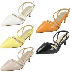 Spot On Ladies Slingback Mid Heel Patent Shoes