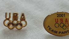 Tack Lapel 2001 Team Partner collectible Hat Lot of 2 Usa Olympic Rings Pin Tie