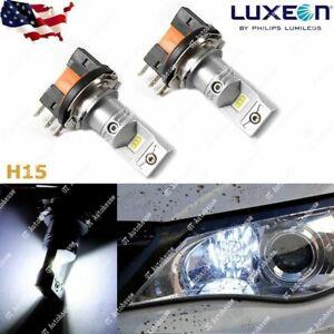 Super Bright HID Xenon White 100W H15 LED Bulbs VW Audi BMW Mercedes DRL Lights