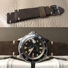 20mm handmade Liver Brown Suede Leather watch Strap cinturino banduhr