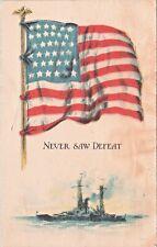 Postcard WWI US Flag Battleship Navy Undefeated D2