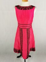 Ladies Dress Size 10 MONSOON Coral Pink Black Embroidered Fit And Flare Party