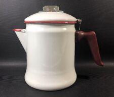 Enamelware Stovetop Coffee Pot Percolator White Red Rubber Handle 4J