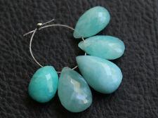 Natural Blue Amazonite Faceted Pear Briolette Semi Precious Gemstone Beads 007