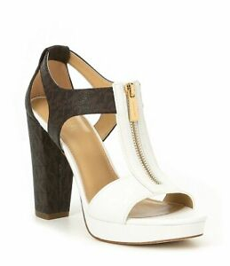 Michael KORS BERKLEY WHITE BROWN T STRAP MK PRINT GOLD LOGO ZIPPER I LOVE SHOES