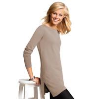 Light Camel Longline Fine Cotton Blend Knit Tunic style Jumper with Vented Hems