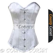 Stecche in acciaio lungo tronco Overbust bustino allacciatura retro bianco in raso corsetto sposa