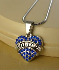 POLICE small blue crystal  HEART W/ Steel NECKLACE jewelry gifts WOMEN