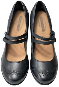 Clarks Collection Soft Cushion Mary Jane Black Leather Block Heel Women's Sz 7M