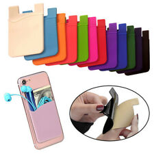Silicone Credit Card Holder Pocket Sticker Adhesive Pouch Case For Smart Phone