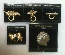 EyeglassHolderHang Ups Broach Pin Gold Rhinestone Leaf,Bee,Bar,Bow,Silver Chief