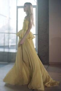 NEW LISA HO Yellow Silk Satin / Chiffon Strapless Peplum Gown Dress 6 RRP1999