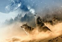 Wolves Pack Fantasy - Wild Animal Home Wall Art Large Poster & Canvas Pictures