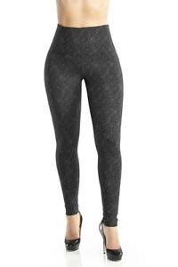 Lysse - Black Floral Lace High Waist Ponte Leggings - Size M - Pre-owned