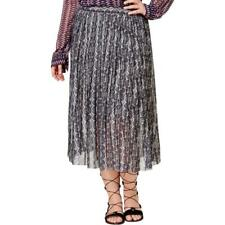 RACHEL RACHEL ROY $169 Gray Print CHIFFON Midi Pleated Lined Skirt PLUS 3X NWT
