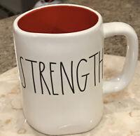 Rae Dunn STRENGTH Mug Orange/Red Interior Coffee Tea Mug LL VHTF New