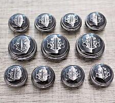 11pcs Enamel Black Metal Shank Set Button Suit Bespoke Blazer Sport Coat Tailor