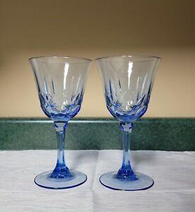 "Avon Fostoria AMERICAN BLUE Set of 2-7 3/8"" Water Wine Goblets Glass Disc'd"