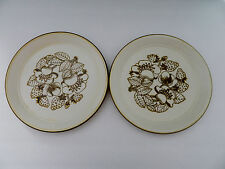 Kiln Craft Staffordshire Pottery  England Brown Strawberries 2 Dinner Plates