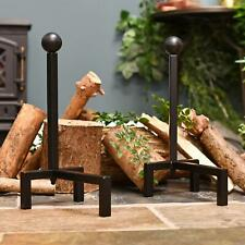 Black Contemporary Steel Fire Dogs