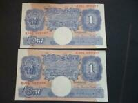 1940 PEPPIATT B249 PAIR OF EXTREMELY FINE CONSECUTIVE £1 NOTES EMERCENCY ISSUE.