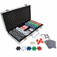 Poker Chip Set 300 in Aluminum Case with Dice Playing Cards Casino Chips Kit