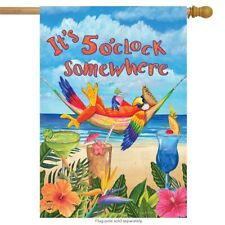 IT'S 5 O'CLOCK SOMEWHERE PARROT DRINKS PARTY HOUSE FLAG 28X40 BANNER