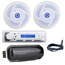 Pyle Stereo Headunit Receiver, 4'' 100W Marine Speakers with LEDs, Antenna/Cover