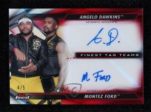 2020 Finest WWE Tag Teams Red Refractor /5 Angelo Dawkins Montez Ford Patch Auto