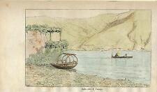 Stampa antica LENNO riva di CAMPO con barca Lago di Como 1885 Old antique print