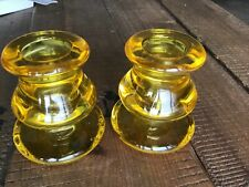 Pair of original 1960s pressed Glass SUNFLOWER yellow Candle Stick Holders