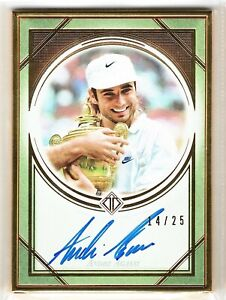 ANDRE AGASSI 2019 2020 TOPPS TRANSCENDENT TENNIS GOLD FRAMED AUTO CARD 14/25